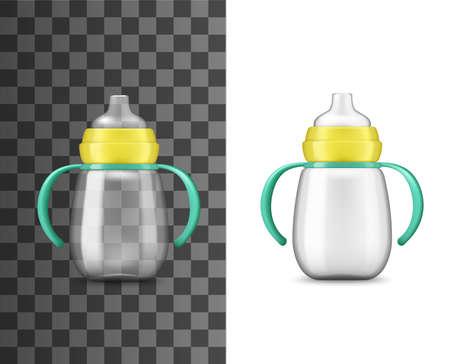 Baby bottle milk feeding, realistic mockup, vector 3D.