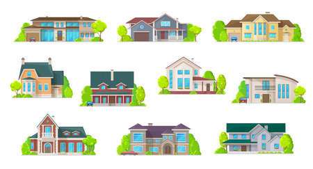 Houses, bungalow cottages and real estate buildings, vector icons.
