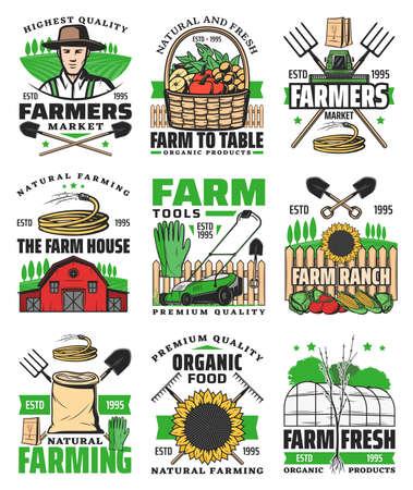 Farming agriculture icons, farm field and farmer harvest tractor, vector.