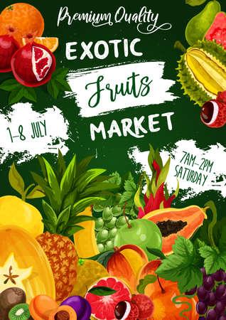 Tropical fruits, farm food exotic garden fruits, vector papaya, peach and apple.