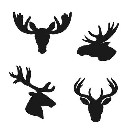 Elk moose and deer silhouettes, animals and hunting vector icons