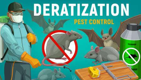 Deratization pest control, extermination and disinfestation service, vector poster. Vectores