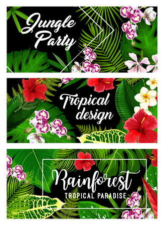 Tropical leaves, palm jungle flowers, vector summer paradise and exotic tropic green background. Ilustrace