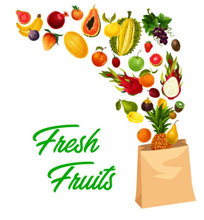 Tropical fruits market, farm food exotic fruits