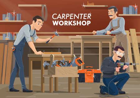Carpenter and woodworker workers in workshop Vecteurs