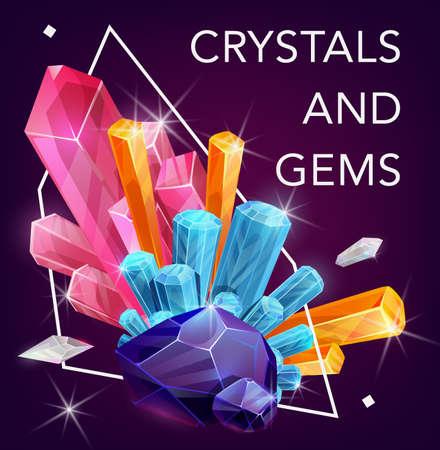 Crystal gem stones, rocks of quartz and diamonds, vector gemstone minerals.