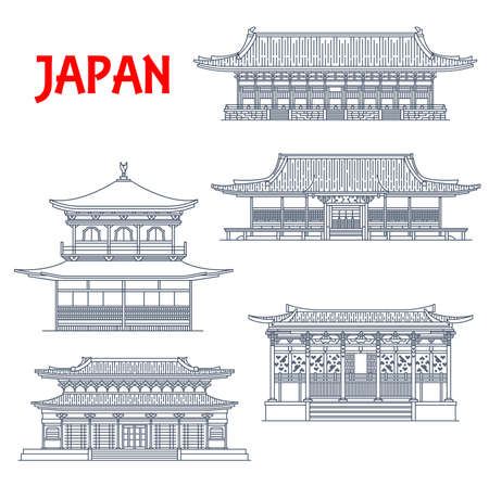 Japan buildings, Japanese temples, pagoda shrines, Kyoto architecture religious landmarks. Ninna-ji, Ginkaku Silver Pavilion or Jisho-ji temple, Eikan-do Zenrin-ji, Nanjen-ji Heian Shinto shrine