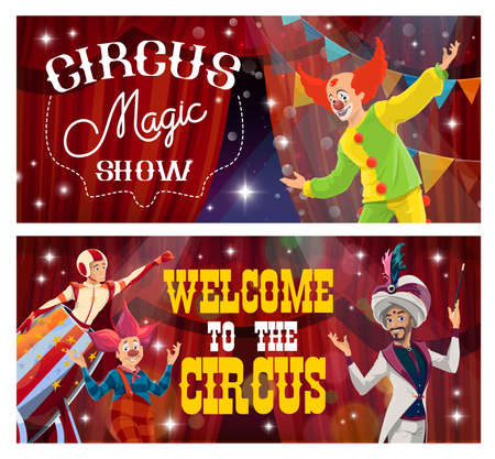 Big top tent circus banners, funfair carnival show clowns and magic festival, vector. Ilustração