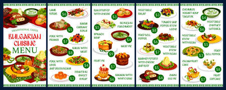 Bulgarian cuisine food vector design of restaurant menu template. Vegetable salads, meat kebapche and bryndza cheese, yogurt soup tarator, pepper chutney lutenitsa, cabbage rolls, fruit pies and cakes