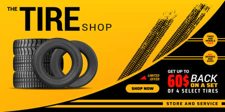 Tire shop, auto service and car wheel tire store vector design. Pile of automobile black rubber tires advertising banner with tracks of wheel trade and discount price offer