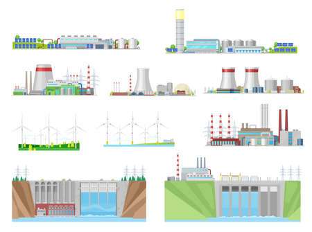 Power plant and energy station building vector icons of nuclear, coal, hydroelectric, wind and thermal energy, electric power industry. Eco wind turbines, water dams, nuclear and coal fired stations
