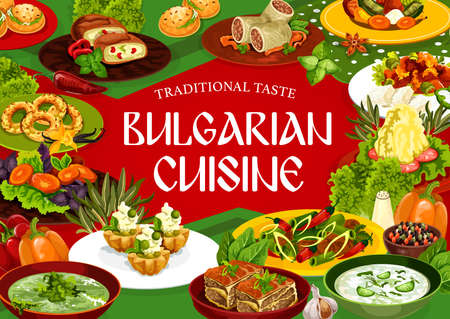 Bulgarian cuisine dishes of meat and vegetable food, vector restaurant menu. Bryndza salad, pepper lutenitsa, yogurt soup and mashed potato, beef pie, stew, cheese buns, vanilla bagels and cupcakes Stock Illustratie