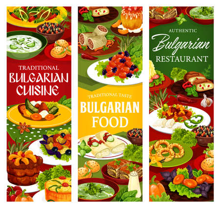Bulgarian cuisine restaurant vector banners with yogurt soup tarator, bryndza cheese and vegetable salads. Meat and fruit pies, pepper chutney lutenitsa, cabbage rolls and pork with prunes, bun, bagel