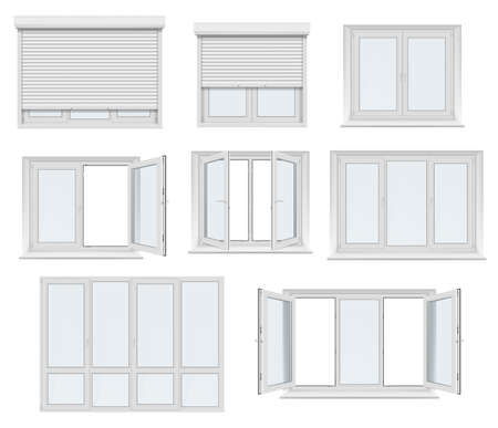 Plastic window and door with roller shutter isolated vector mockup. Realistic white windows and doors with metal rolling blinds, glass panels and PVC frame profiles, 3d design of architecture elements