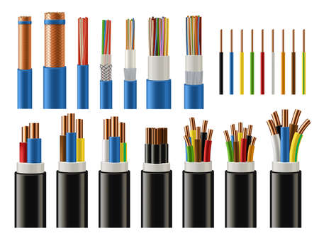 Cables and wires realistic vector of electrical power, network, television and telephone. Energy cables with insulated copper conductors, twisted pairs, multicore coaxial and fiber optic wires