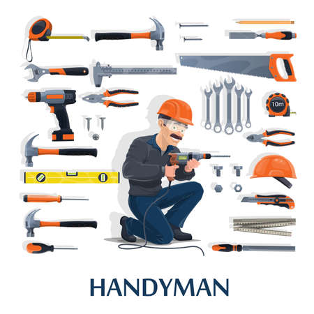 Handyman with work tools cartoon vector of construction industry, house repair and renovation design. Builder man character with screwdrivers, hammers and drill, helmet, pliers, wrench or spanner Vector Illustration