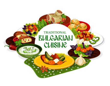 Cuisine of Bulgaria vector design of Bulgarian meat and vegetable food. Tomato pepper chutney lutenitsa with bryndza, yogurt soup tarator, stuffed cheese peppers, buns and cabbage beef rolls