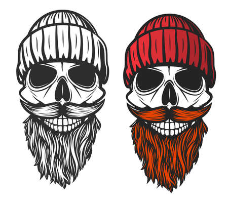 Skull with red beard, mustache and knitted hat. Vector skeleton head of dead lumberjack or forester, hipster man, sea ship captain or sailor, barbershop symbol, tattoo or t-shirt print design Vettoriali