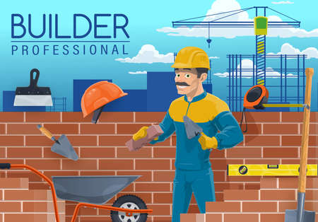 Builder with bricklayer work tools, construction industry worker cartoon vector. Mason, bricklayer or stonemason laying bricks with trowel, bricks, shovel, helmet or hard hat, wheelbarrow and spatula