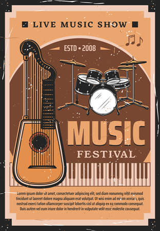 Music festival vector poster with musical instruments and notes. Drum set, piano keyboard and medieval harp guitar or lute retro invitation for live music concert, ethnic fest and musical show Illusztráció