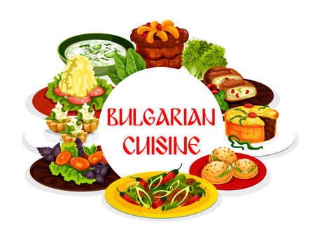 Bulgarian cuisine vector food, vegetable salad, chilli pepper meat stew, yogurt soup tarator and fruit pies. Bryndza cheese stuffed peppers and buns, cream cupcake and mashed potato, restaurant menu