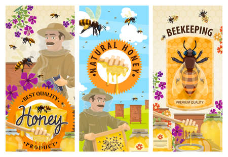 Honey, bee, hive and beekeeper banners, vector beekeeping farm food. Honeycomb, bees, apiary beehives, flowers and honey jars, yellow pollen, wood dipper and smoker, apiculture or beekeeping design