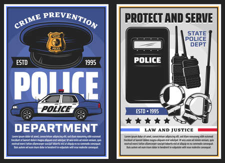 Police department serve and policing, law and justice vector design. Police officer uniform cap with badge, patrol car and handcuffs, baton, radio scanners and tactical anti riot shield posters Stock Illustratie