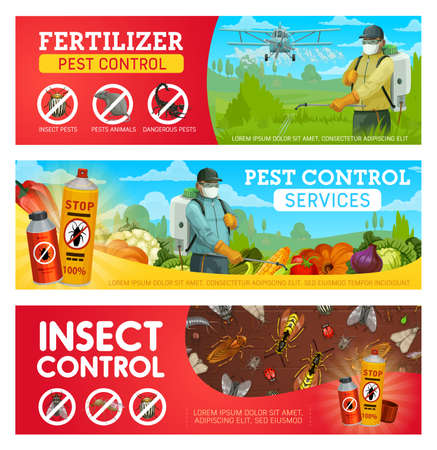 Pest control service vector banners with pest insects, bugs, rodent animals and exterminators. Cockroach, mosquito, rat and fly, pesticide and insecticide protection spray and agriculture crop duster