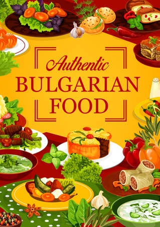 Bulgarian cuisine food of vector meat dishes with vegetables and desserts. Yogurt and spinach soups, beef pies and cabbage rolls, stuffed peppers and buns with bryndza cheese, donuts, mashed potato Stock Illustratie