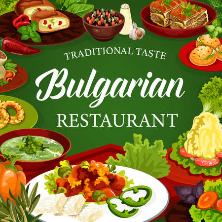 Bulgarian cuisine vector dishes of meat and vegetable food with dessert. Bryndza with tomato sauce lutenitsa, cheese stuffed peppers and buns, beef pie and cabbage rolls, spinach soup, vanilla bagels Stock Illustratie