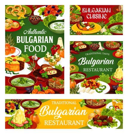 Bulgarian restaurant food vector design of vegetable and meat meal with dessert dishes. Yogurt soup tarator, beef, fruit and bryndza cheese pies, potato stew, buns and cupcakes, vanilla bagel