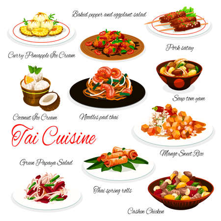 Thai cuisine vector dishes of Asian food with meat, seafood, vegetables and fruits. Tom yum soup, pad thai noodles and shrimp spring rolls, mango rice, ice cream, pork satay and cashew chicken Illustration