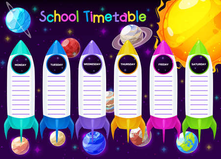 School timetable or education schedule template on vector background with space, spaceships, planets. Weekly plan of student lessons, study planner of elementary school pupil with rockets, Earth, Moon