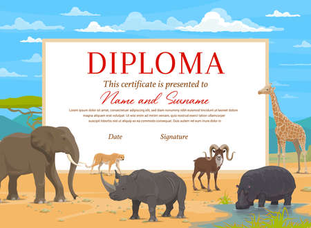 Kids diploma certificate vector template with african safari animals. Education award of school, preschool or kindergarten graduation, achievement certificate with elephant, rhino, giraffe and hippo Stock Illustratie