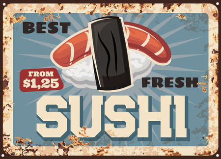 Japanese sushi rusty metal plate, Asian cuisine food vector design. Ahi nigiri sushi with rice, slice of tuna or salmon fish and nori seaweed, seafood restaurant old tin signboard with rusty effect
