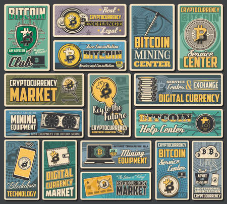 Bitcoin cryptocurrency retro banners of vector digital money exchange, blockchain transaction and crypto currency mining. Network financial technologies, digital wallet, laptop computer, mobile phone