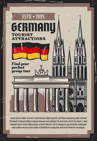 German travel and tourism vector design with architecture travel landmarks of Germany. Flag, Brandenburg Gate triumphal arch in Berlin and medieval gothic cathedral retro grunge poster Stock Illustratie