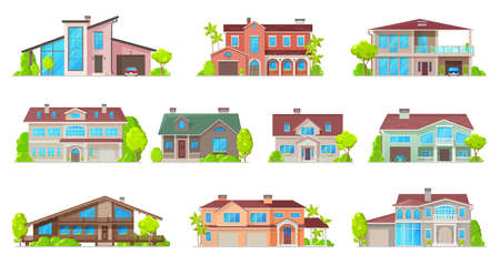 Real estate house vector icons with isolated buildings of residential homes. Cottage, villa, bungalow, townhouse and mansion two storey buildings with mansard roofs, balconies, garages and porches