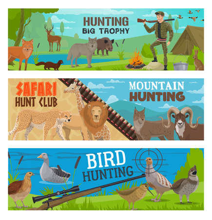Hunting sport vector banners of hunter, gun, animal and bird. Hunt equipment, huntsman rifle target and ammunition, safari lion, cheetah, forest wolf and deer, lake duck, goose and quail, boar and fox