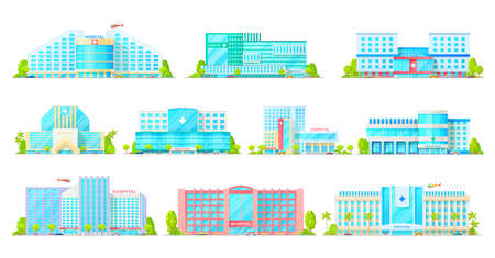 Hospital, medical clinic and ambulatory center vector icons with buildings of medicine and healthcare. Emergency health care hospital buildings with ambulance vehicles, car or truck and helicopter