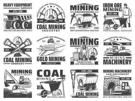 Mining industry equipment, machinery and miner tool isolated icons. Vector miner, helmet, pickaxe and hammer, iron, coal and gold mine excavator, dump truck and dynamite, bulldozer and cart symbols