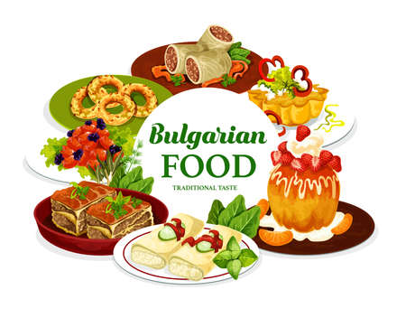 Bulgarian cuisine meat food with fruit dessert dishes, vector meal. Beef stuffed cabbage rolls, baked bryndza cheese in filo pastry, meat pie and pork with prunes, sugar donut, cupcake, vanilla bagels