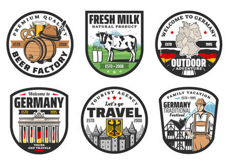 German travel landmark isolated icons, vector tourism of Germany. German flag, map and heraldic eagle, beer, hunter hat, Alpine meadow and milk cow, half timbered house, Brandenburg Gate, roman castle