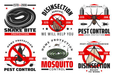 Pest control and disinfection service isolated vector icons with insects and insecticide. Mosquito, spider, moth and snake, weevil and silverfish with red forbidden symbols, repellent sprays and coil