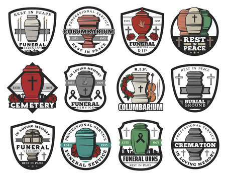 Cremation urn isolated vector badges of funeral service. Columbarium vases, jars and pots for ashes with cemetery tombstone crosses, memorial wreaths and candles, RIP ribbons, doves and crucifixes Stock Illustratie