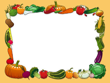Vegetables vector frame with farm and garden fresh food. Pepper, carrot, tomato and garlic, radish, onion, cabbage and asparagus, broccoli, cauliflower, eggplant and pumpkin, pea and corn border Stock Illustratie