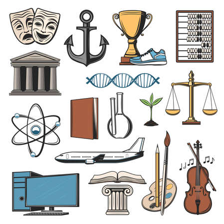 School book, university building and computer vector icons of education. Isolated objects of paint, pencil and brush, chemistry laboratory flasks, DNA and atom models, sport trophy cup, violin, plane