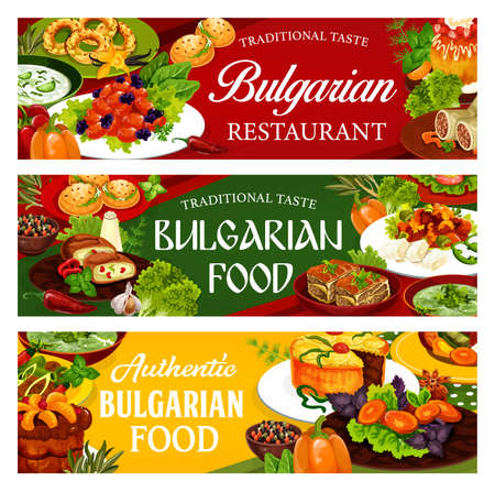 Bulgarian cuisine food dishes, vector banners with vegetable, meat and desserts. Bryndza cheese with pepper sauce, yogurt soup tarator, beef and fruit pies, pork with prunes, sugar donuts and bagels