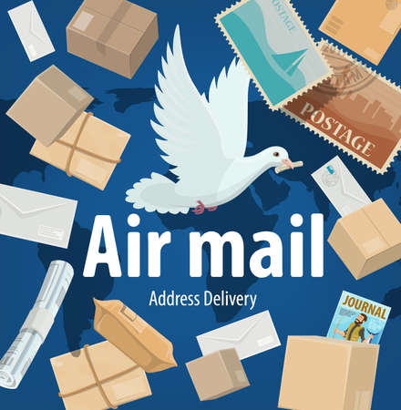 Air mail service, freight and parcels delivery vector poster. Cartoon white dove on world map background with mail boxes, postage stamps, parcels, journals and newspapers. Express shipping post office Vettoriali
