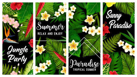 Tropical plants and flowers vector banners, exotic blossoms hibiscus, orchid, strelitzia or plumeria with green palm leaves. Summer tropical vacation plants or flowers, summertime season holiday cards